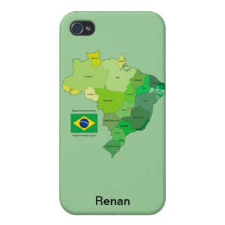 Brazil Flag and Political Map iPhone 4 Cases