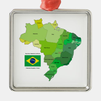 Brazil Flag and Political Map Metal Ornament