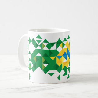 Brazil Flag Colors, Poly Art Coffee Mug