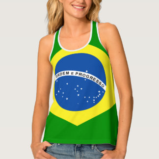 Brazil Flag Design Tank Top