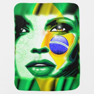 Brazil Flag Girl Portrait Baby_Blanket Buggy Blankets