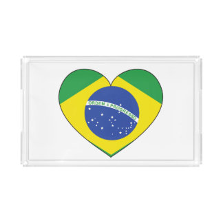 Brazil Flag Heart Acrylic Tray