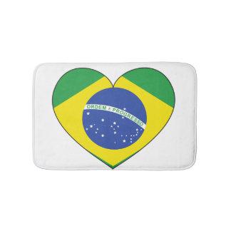 Brazil Flag Heart Bath Mat