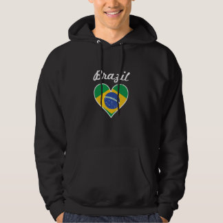 Brazil Flag Heart Hoodie