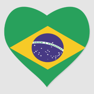Brazil Flag Heart Sticker