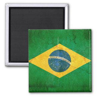 Brazil Flag in Grunge Magnet