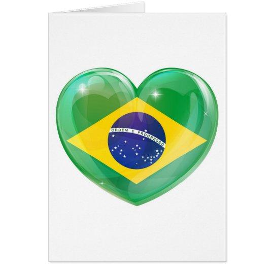 Brazil flag love heart card