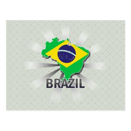 Brazil Flag Map 2.0 Postcard