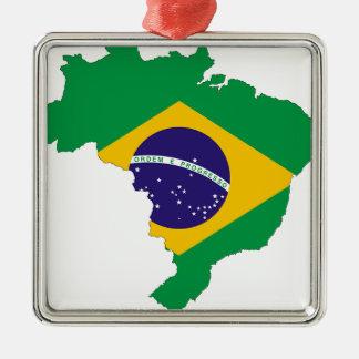 Brazil Flag Map Symbol Brazilian Country Metal Ornament