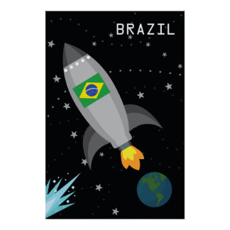 Brazil Flag Rocket Ship Poster