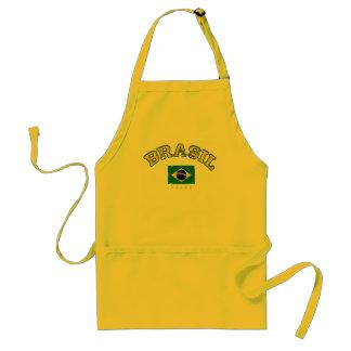 Brazil flag soccer style adult apron