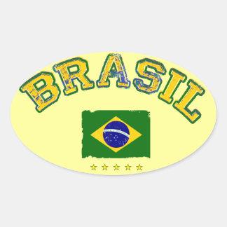 Brazil flag soccer style oval sticker