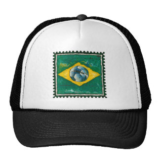 Brazil flag with ball like stamp mesh hats