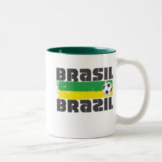 Brazil Futbol Two-Tone Coffee Mug