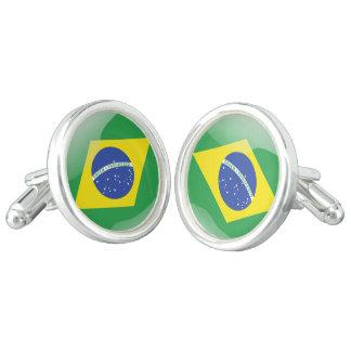 Brazil glossy flag cuff links