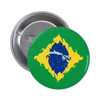 Brazil Gnarly Flag 6 Cm Round Badge