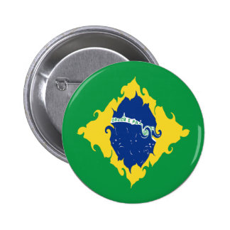 Brazil Gnarly Flag Pinback Button
