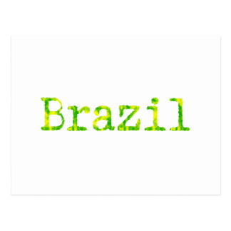 Brazil Green and Yellow Font Postcard