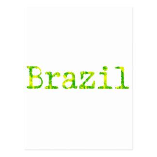 Brazil Green and Yellow Font Postcard