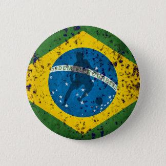 Brazil Grunge flag for Brazilians worldwide 6 Cm Round Badge