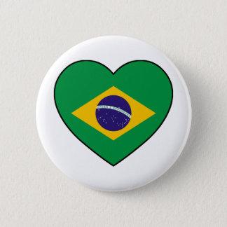 Brazil Heart Soccer 6 Cm Round Badge