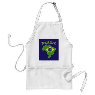 BRAZIL Map/Flag on Navy Background Adult Apron