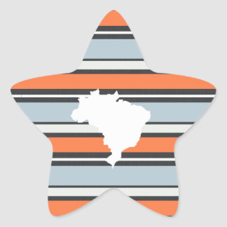 Brazil Map: Modern Stripes Star Sticker