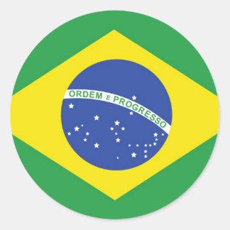 Brazil National Flag Classic Round Sticker