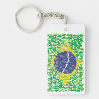 Brazil national soccer flag (Futebol Brasileiro), Double-Sided Rectangular Acrylic Key Ring