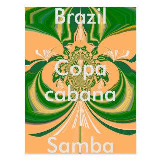 Brazil Red Golden Green Postcard Template