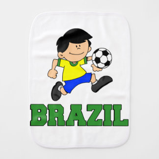 Brazil Soccer Cartoon Burp Cloth