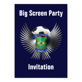Brazil Soccer Champions 13 Cm X 18 Cm Invitation Card