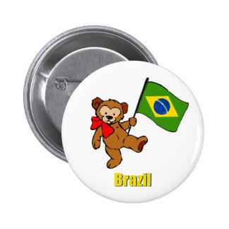 Brazil Teddy Bear 6 Cm Round Badge