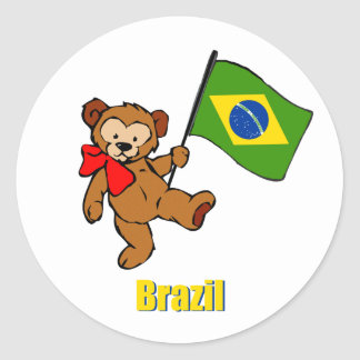 Brazil Teddy Bear Round Sticker