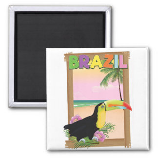Brazil Toucan beach holiday poster Magnet