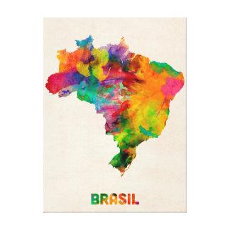 Brazil Watercolor Map Gallery Wrap Canvas