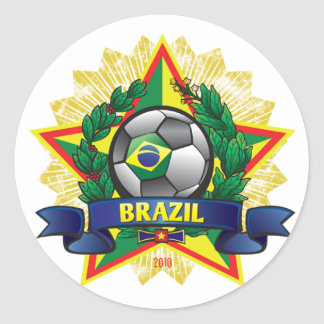 Brazil World Cup Soccer Round Sticker