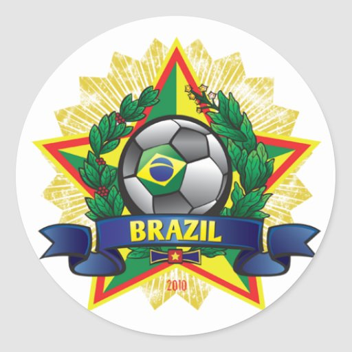 Brazil World Cup Soccer Round Stickers