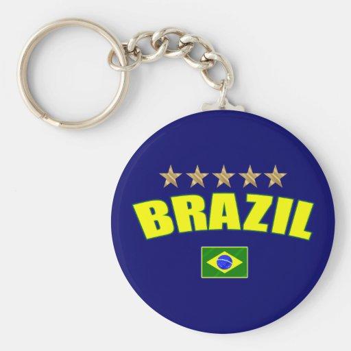 Brazil yellow Logo 5 stars soccer futebol gifts Key Chain