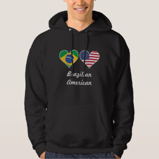 Brazilian American Flag Hearts Hoodie
