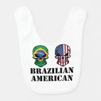 Brazilian American Flag Skulls Bib