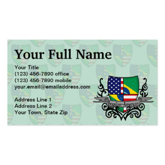 Brazilian-American Shield Flag Business Card Template