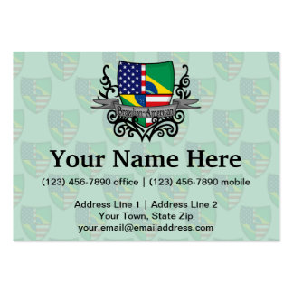 Brazilian-American Shield Flag Large Business Cards (Pack Of 100)