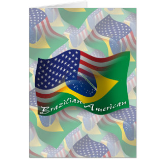Brazilian-American Waving Flag Greeting Cards