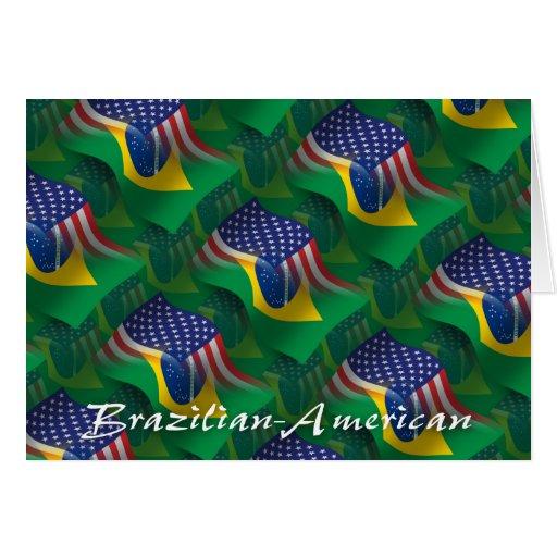 Brazilian-American Waving Flag Cards