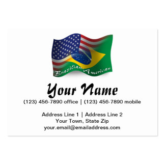 Brazilian-American Waving Flag Pack Of Chubby Business Cards