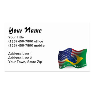 Brazilian-American Waving Flag Pack Of Standard Business Cards