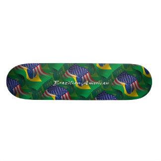 Brazilian-American Waving Flag Custom Skateboard