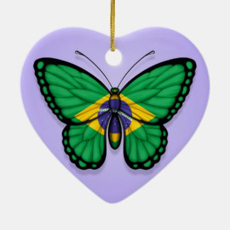 Brazilian Butterfly Flag on Purple Ceramic Ornament