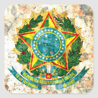 Brazilian Coat of Arms Square Sticker